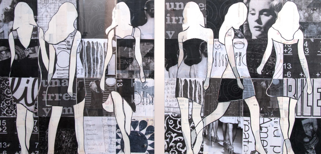 artmanBlack and White Walking Girls.36x36each
