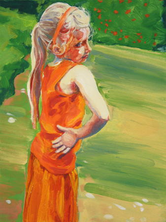 "​Kathleen Migliore-Newton ""Ava in Orange,"" 12"" x 9"", oil on board, 2015"